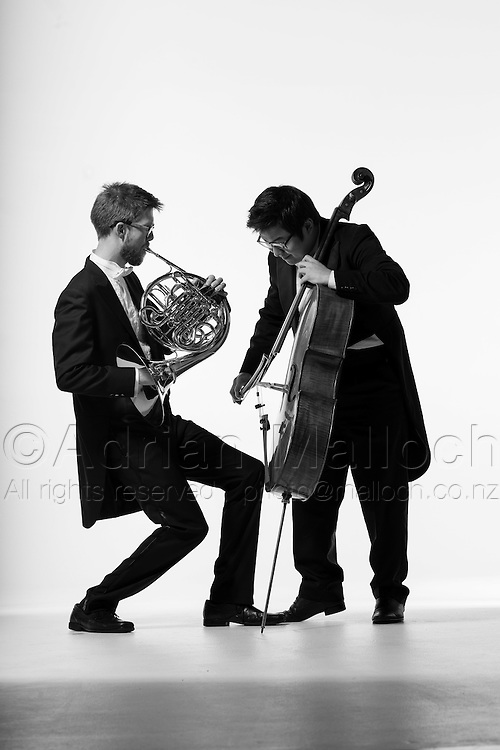 Carl Wells, sub principal french horn, James sang-oh Yoo, cello for the Auckland Philharmonia Orchestra.