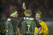 Northampton, Northamptonshire,  7th December 2002, [Mandatory Credit: Peter Spurrier/Intersport Images],Heineken European Cup - Franklin Gardens - Northampton vs Cardiff<br /> David Young left gets his matching orders Fellow card