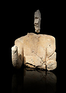 9th century BC Giants of Mont'e Prama  Nuragic stone statue of an archer, Mont'e Prama archaeological site, Cabras. Museo archeologico nazionale, Cagliari, Italy. (National Archaeological Museum) - Black Background .<br />  <br /> If you prefer to buy from our ALAMY STOCK LIBRARY page at https://www.alamy.com/portfolio/paul-williams-funkystock/nuragic-artefacts.html - Type intoo the LOWER SEARCH WITHIN GALLERY box to refine search by adding background colour, etc<br /> <br /> Visit our NURAGIC PHOTO COLLECTIONS for more photos to download or buy as wall art prints https://funkystock.photoshelter.com/gallery-collection/Nuragic-Nuraghe-Towers-Nuragic-Artefacts-of-Sardinia-Pictures-Images/C0000M6ZtTuHVsSo