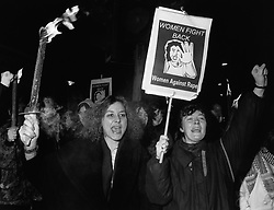 Reclaim the night march; Hyde Park; Leeds,  Over 100 women held a torchlit vigil in the park where a series of sexual assaults had taken place, UK Jan 1993