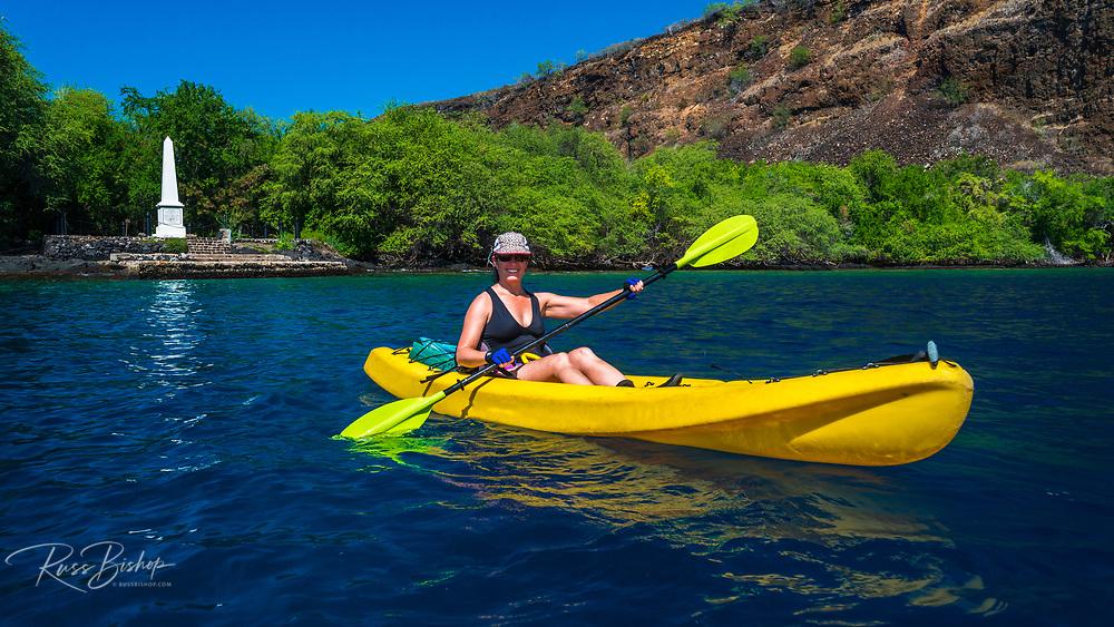 Kayaking on Kealakekua Bay(Captain Cook monument visible), Kona Coast, Hawaii USA