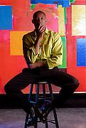"Dancer-choreographer Bill T. Jones, whose controversial work ""Still/Here"" has touched off quite a debate. (Painting behind:  Hans Hoffman, titled"" Sanctum Sanctorum"" 1963) LATphoto: Patrick Downs."