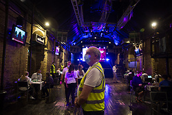 © Licensed to London News Pictures.  08/08/2021. London, UK. General view at the nightclub Heaven in central London which host vaccination centre. Visitors will be able to get their first dose of Pfizer. Also, there will also be small numbers of AstraZeneca doses available for those due their second jab.  Photo credit: Marcin Nowak/LNP
