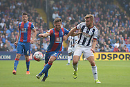 James Morrison of West Bromwich Albion and Yohan Cabaye of Crystal Palace competing for the ball. Barclays Premier League match, Crystal Palace v West Bromwich Albion at Selhurst Park in London on Saturday 3rd October 2015.<br /> pic by John Patrick Fletcher, Andrew Orchard sports photography.