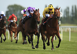 Orin Swift ridden by Rob Hornby (right) wins the Starlight Wishes Handicap Stakes from Sky Marshal ridden by Pat Cosgrave (left) at Newbury Racecourse.