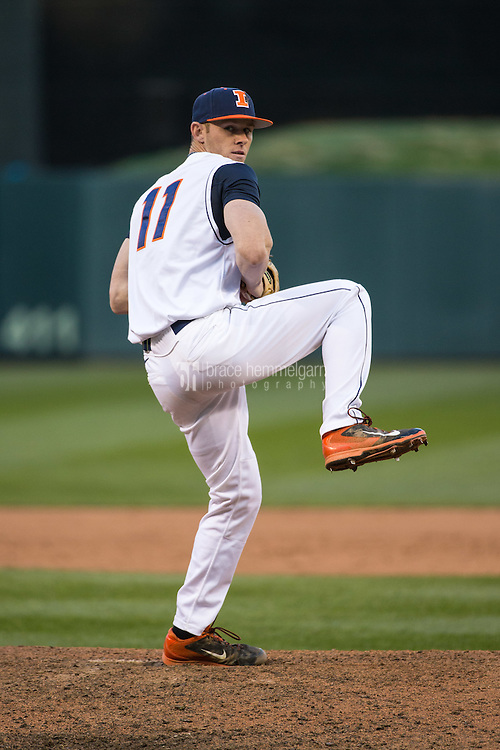 Tyler Jay (11) of the Illinois Fighting Illini pitches during the 2015 Big Ten Conference Tournament between the Illinois Fighting Illini and Nebraska Cornhuskers at Target Field on May 20, 2015 in Minneapolis, Minnesota. (Brace Hemmelgarn)