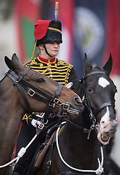 © Licensed to London News Pictures. 28/05/2016. London, UK. A female member of The King's Troop Royal Horse Artillery takes part in The Major's General's Review on The Mall. Hundreds of troops are taking part in the first of two rehearsals for the Trooping the Colour ceremony, the Queen's annual birthday parade. Photo credit: Peter Macdiarmid/LNP