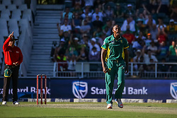 Kagiso Rabada of SA celebrates a wicket during the 2nd ODI match between South Africa and Australia held at The Wanderers Stadium in Johannesburg, Gauteng, South Africa on the 2nd October  2016<br /> <br /> Photo by Dominic Barnardt/ RealTime Images