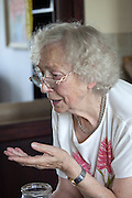 Conversational Polish great grandmother age 88 gestures as she speaks. Zawady Central Poland