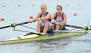 Eton Dorney, United Kingdom,  GBR W2-. Bow Helen GLOVER and Polly SWANN. Eton Rowing Centre. FISA World Cup II, Dorney Lake. Friday  21/06/2013 Berkshire.  [Mandatory Credit Peter Spurrier/ Intersport Images]