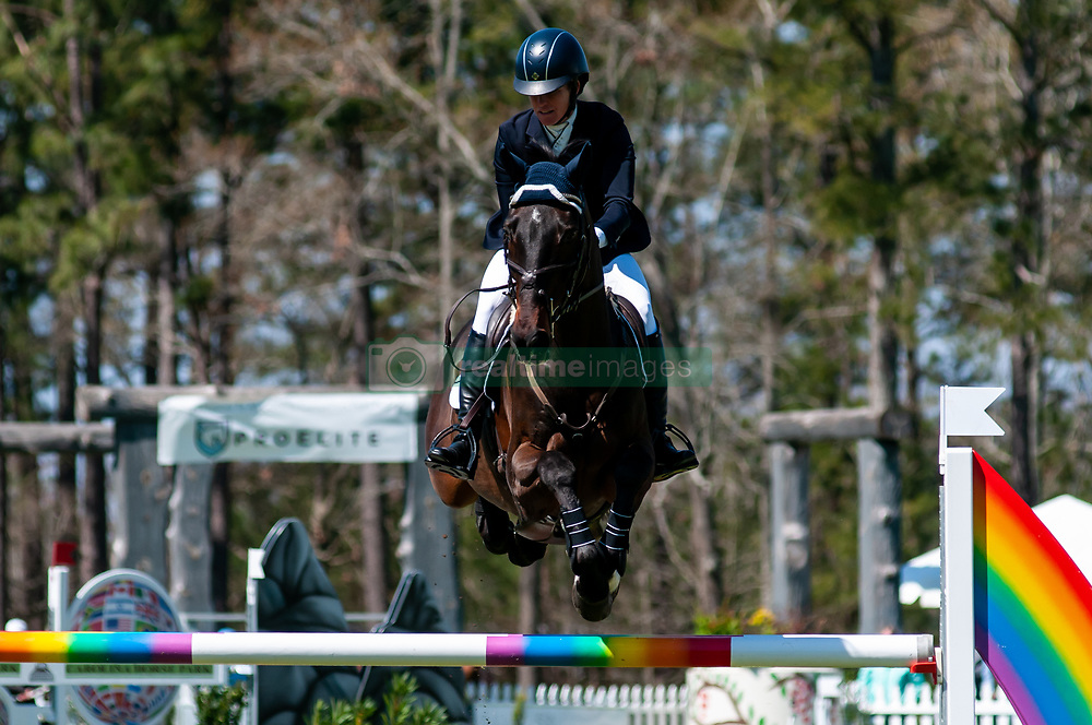 March 22, 2019 - Raeford, North Carolina, US - March 22, 2019 - Raeford, N.C., USA - ALEXANDRA KNOWLES of the United States riding SOUND PROSPECT competes in the show jumping CCI-4S division at the sixth annual Cloud 11-Gavilan North LLC Carolina International CCI and Horse Trial, at Carolina Horse Park. The Carolina International CCI and Horse Trial is one of North AmericaÃ•s premier eventing competitions for national and international eventing combinations, hosting International competition at the CCI2*-S through CCI4*-S levels and National levels of Training through Advanced. (Credit Image: © Timothy L. Hale/ZUMA Wire)