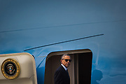 President Barack Obama boards Air Force One after visiting Orlando in the wake of the mass shooting at Pulse nightclub, at Orlando International Airport in Orlando, Florida, U.S., June 16, 2016.