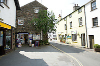 The main street with shops in Hawkshead, Cumbria