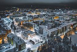 THEMENBILD - Blick auf die finnische Stadt Lahti mit den Lichtern der Stadt im Winter mit Schnee bedeckt, aufgenommen am 07. Februar 2019 in Lahti, Finnland // View of the Finnish city Lahti with the lights of the city in winter covered with snow. Lahti, Finland on 2019/02/07. EXPA Pictures © 2019, PhotoCredit: EXPA/ JFK