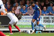 AFC Wimbledon striker Jake Jervis (10) dribbling during the EFL Sky Bet League 1 match between AFC Wimbledon and Portsmouth at the Cherry Red Records Stadium, Kingston, England on 13 October 2018.