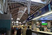 Stalls inside central market building, city of Valencia, Spain