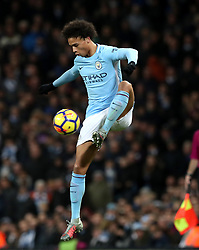 """Manchester City's Leroy Sane during the Premier League match at the Etihad Stadium, Manchester. PRESS ASSOCIATION Photo. Picture date: Sunday December 3, 2017. See PA story SOCCER Man City. Photo credit should read: Martin Rickett/PA Wire. RESTRICTIONS: EDITORIAL USE ONLY No use with unauthorised audio, video, data, fixture lists, club/league logos or """"live"""" services. Online in-match use limited to 75 images, no video emulation. No use in betting, games or single club/league/player publications."""