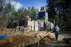 © Licensed to London News Pictures. 02/03/2017. Coldharbour, UK. The 'Protection Camp' on Leith Hill. Activists have constructed and occupied a fort and some trees on the site of a proposed oil well. Planning permission for 18 weeks of exploratory drilling was granted to Europa Oil and Gas in August 2015 after a four-year planning battle. The camp was set up by protestors in October 2016 in order to draw  attention to plans to drill in this Area of Outstanding Natural Beauty (AONB) in the Surrey Hills. The camp has received support from the local community.  Photo credit: Peter Macdiarmid/LNP