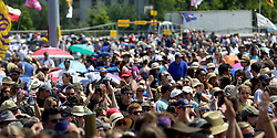 02 May 2015. New Orleans, Louisiana.<br /> The New Orleans Jazz and Heritage Festival. <br /> Fans listen to Marc Broussard at the Gentilly Stage.<br /> Photo; Charlie Varley/varleypix.com