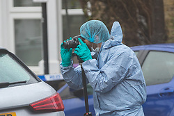 © Licensed to London News Pictures. 20/12/2019. London, UK. Police forensic officers at the crime scene in Bromley, Walthamstow. Police were called yesterday at 19:16 to reports of a fight. Officers attended and found a man aged in his 20's suffering stab injuries who was pronounced dead at the scene. Photo credit: Vickie Flores/LNP