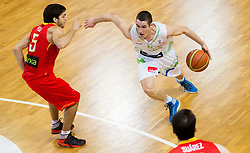 Jose Pozas of Spain vs Jan Span of Slovenia during basketball match between National teams of Slovenia and Spain in Qualifying Round of U20 Men European Championship Slovenia 2012, on July 18, 2012 in Domzale, Slovenia. (Photo by Vid Ponikvar / Sportida.com)