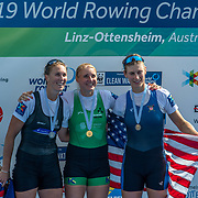 Emma Twigg (Hawkes Bay RC) NZ Womens Single Scull<br />     <br /> Finals races at the World Championships, raced on the Regattastrecke, Linz Ottensheim, Austria. Sunday 1 September 2019  © Copyright photo Steve McArthur / www.photosport.nz