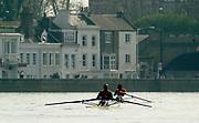 Putney to Mortlake, Thames World Sculling Challenge<br /> <br /> Photo Peter Spurrier<br /> 29/03/2002<br /> 2002 Thames World Sculling Challenge<br /> Chalupu (nearest) and Cop approach Barnes Bridge
