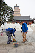 Progress and restoration of Chinese monuments, Big Wild Goose Pagoda, Xian, China