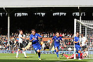 Danny Ward of Cardiff City (C) celebrates after scoring his team's first goal. EFL Skybet football league championship match, Fulham v Cardiff city at Craven Cottage in London on Saturday 9th September 2017.<br /> pic by Steffan Bowen, Andrew Orchard sports photography.
