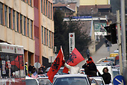 Kosovo, Pristina (in front of Filologjik University of Pristina)<br /> Saturday, February 16, 2008<br /> <br /> Many young Albanian people, use to drive with car all day, around Pristina streets, they also screaming 'Independent, is coming, thanks to USA, USA! USA! USA!'