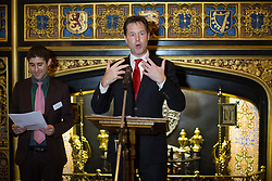 © licensed to London News Pictures. London, UK 23/10/2013. Deputy Prime Minister Nick Clegg giving a speech at The Pink News Awards to congratulate LGBT campaigners at Speakers House, Palace of Westminster, London on Wednesday, 23 October 2013. Photo credit: Tolga Akmen/LNP