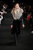 Sabina Lobova (Elite) walks the runway wearing Altuzarra Fall 2015 during Mercedes-Benz Fashion Week in New York on February 14, 2015