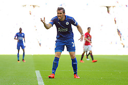 Christian Fuchs of Leicester City looks frustrated - Rogan Thomson/JMP - 07/08/2016 - FOOTBALL - Wembley Stadium - London, England - Leicester City v Manchester United - The FA Community Shield.