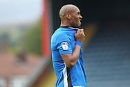 Calvin Andrew reacts to a missed chance during the EFL Sky Bet League 1 match between Rochdale and Gillingham at Spotland, Rochdale, England on 23 September 2017. Photo by Daniel Youngs.