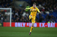 Tom Barkhuizen of Preston North End in action. EFL Skybet championship match, Cardiff city v Preston North End at the Cardiff city stadium in Cardiff, South Wales on Friday 29th December 2017.<br /> pic by Andrew Orchard, Andrew Orchard sports photography.