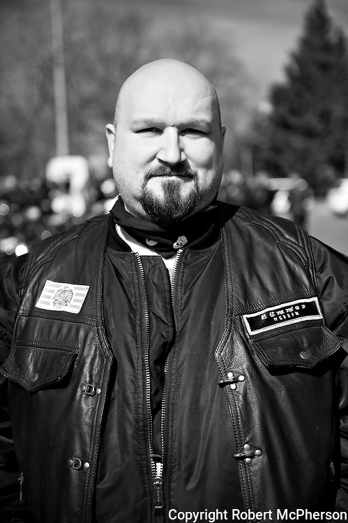 """On image Desztics Jeno. Member of the right-wing extremist group Gòj Motorosok in Hungary.<br /> <br /> They are a smaller organization than """"The Hungarian Guard"""" and operate with low profile. However, they have taken over the leadership in one of the theatres in Budapest. They are not associated with any government party in Hungary. On one of the national days in Hungary in March 2012, they had their own """"parade"""" riding their motorbikes around in the city of Budapest. They claimed themselves that they did not do this to get public attention. The photographer got the oppurtunity to meet them over a very short period of time privat."""