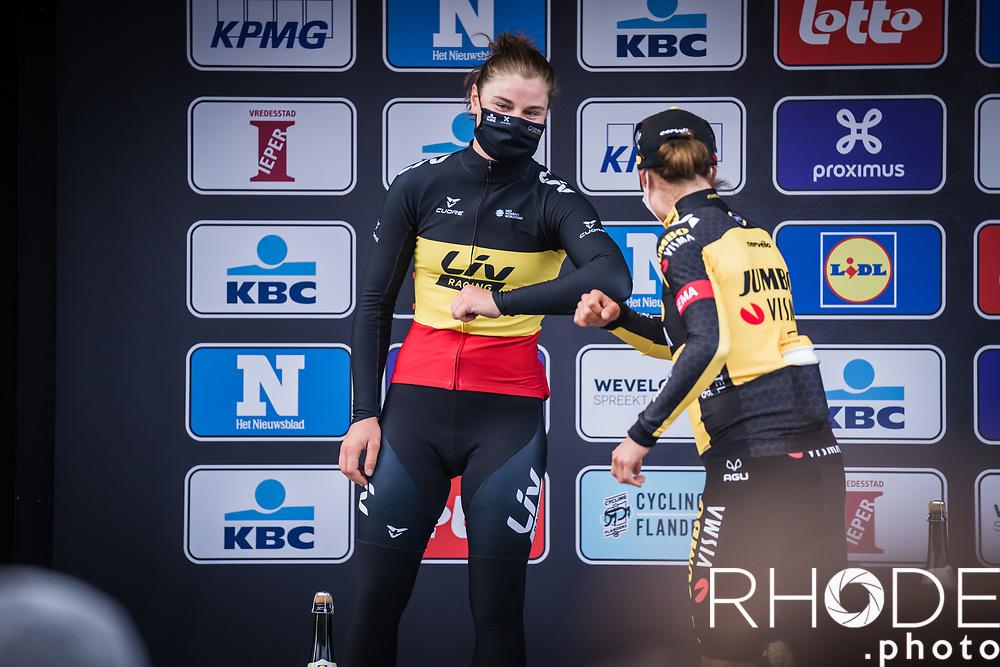 Belgian National Champion Lotte Kopecky (BEL/Liv Racing) congratulates race winner Marianne Vos (NED/Jumbo Visma)<br /> <br /> 10th Gent-Wevelgem in Flanders Fields 2021<br /> Elite Womens Race (1.WWT)<br /> <br /> One Day Race from Ypres (Ieper) to Wevelgem 142km<br /> <br /> ©RhodePhoto