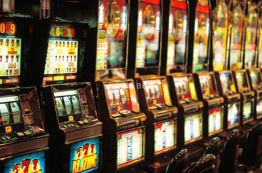 Close up of slot machines in Las Vegas