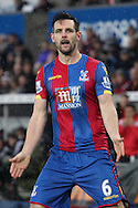 Crystal Palace's Scott Dann celebrates scoring his sides equaliser to make it 1-1. Barclays Premier league match, Swansea city v Crystal Palace at the Liberty Stadium in Swansea, South Wales on Saturday 6th February 2016.<br /> pic by David Richards, Andrew Orchard sports photography.