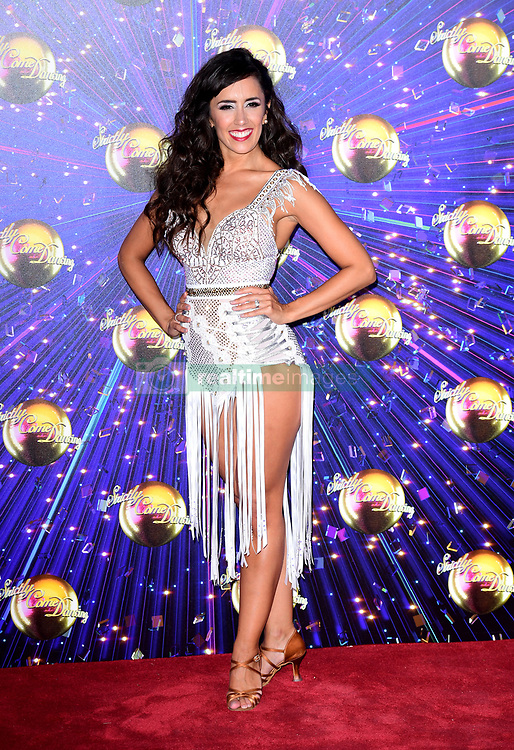 Janette Manrara arriving at the red carpet launch of Strictly Come Dancing 2019, held at BBC TV Centre in London, UK.