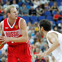 10 August 2012: Russia Anton Ponkrashov looks to pass the ball during 67-59 Team Spain victory over Team Russia, during the men's basketball semi-finals, at the North Greenwich Arena, in London, Great Britain.