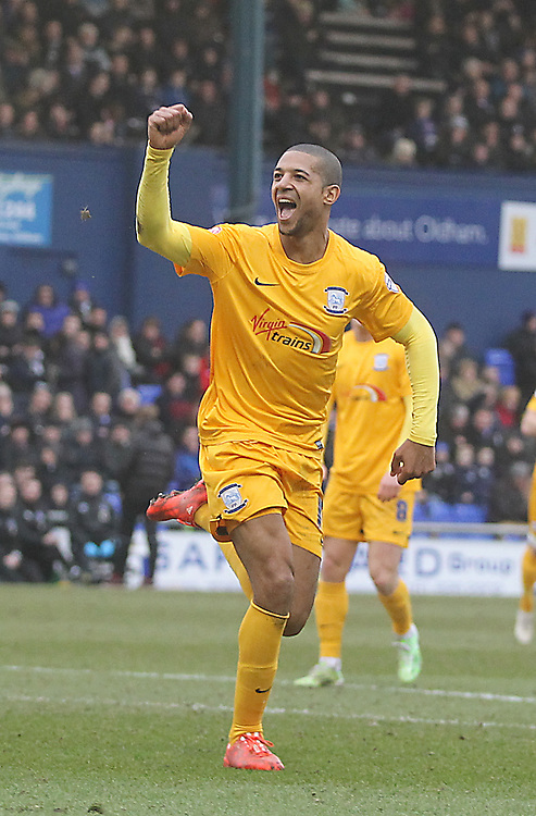 Preston North End's Jermaine Beckford celebrates scoring his sides fourth goal <br /> <br /> Photographer Mick Walker/CameraSport<br /> <br /> Football - The Football League Sky Bet League One - Oldham Athletic v Preston North End - Saturday 28th February 2015 - SportsDirect.com Park - Oldham<br /> <br /> © CameraSport - 43 Linden Ave. Countesthorpe. Leicester. England. LE8 5PG - Tel: +44 (0) 116 277 4147 - admin@camerasport.com - www.camerasport.com