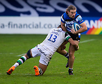 Bath Rugby's Max Clark is tackled by Newcastle Falcons Luther Burrell<br /> <br /> Photographer Bob Bradford/CameraSport<br /> <br /> Gallagher Premiership Round 1 - Bath Rugby v Newcastle Falcons - Saturday 21st November 2020 - The Recreation Ground - Bath<br /> <br /> World Copyright © 2020 CameraSport. All rights reserved. 43 Linden Ave. Countesthorpe. Leicester. England. LE8 5PG - Tel: +44 (0) 116 277 4147 - admin@camerasport.com - www.camerasport.com