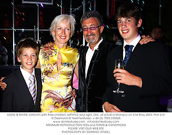 EDDIE & MARIE JORDAN with their children, left KYLE and right, ZAK, at a ball in Monaco on 31st May 2003.PKA 276