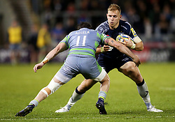 Will Addison of Sale Sharks takes on Belisario Agulla of Newcastle Falcons - Mandatory by-line: Matt McNulty/JMP - 08/09/2017 - RUGBY - AJ Bell Stadium - Sale, England - Sale Sharks v Newcastle Falcons - Aviva Premiership