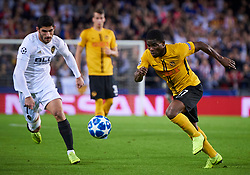 November 7, 2018 - Valencia, U.S. - VALENCIA,  - NOVEMBER 07: Roger Assale, forward of BSC Young Boys competes for the ball with Gonalo Guedes, midfielder of Valencia CF during the UEFA Champions League group stage H football match between Valencia CF and BSC Young Boys at Mestalla Stadium on November 07, 2018, in Valencia, Spain. (Photo by Carlos Sanchez Martinez/Icon Sportswire) (Credit Image: © Carlos Sanchez Martinez/Icon SMI via ZUMA Press)
