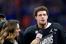 Florida Gators quarterback Feleipe Franks #13 is interviewed after winning the bowl MVP trophy during the Chick-fil-A Peach Bowl, Saturday, December 29, 2018, in Atlanta. ( Paul Abell via Abell Images for Chick-fil-A Peach Bowl)