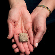 Luise Poulton, Rare Books Manager Special Collections  holds a Sumerian clay tablet, which is a one-by-one-inch square block that has early cuneiform writing on it (one of the earliest examples of written language) in the rare book collection at the J. Willard Marriott Library on the campus of the University of Utah in Salt Lake City, Utah Wednesday Oct. 10, 2012. (Photo by August Miller).