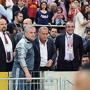 Galatasaray's coach Fatih Terim (C) and Sivasspor's coach Riza Calimbay (2ndL) during their Turkish Super League soccer match Galatasaray between Sivasspor at the AliSamiYen Spor Kompleksi TT Arena at Seyrantepe in Istanbul Turkey on Sunday 05 May 2013. Photo by TURKPIX