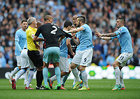 Football - 2013 / 2014 Premier League - Manchester City vs. West Ham United<br /> Tempers flare as West Ham's Mark Noble and Manchester City's Sergio Aguero clash at the Etihad Stadium, Manchester